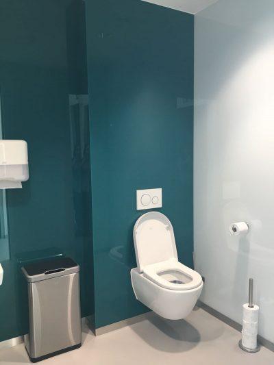 Design glazen achterwand voor toilet